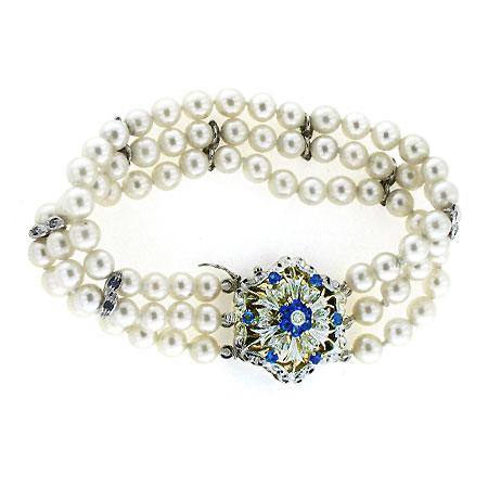 Bracciale con perle e zaffiri