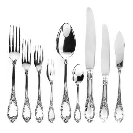 Set posate decorate x 12 persone Valsodo in argento