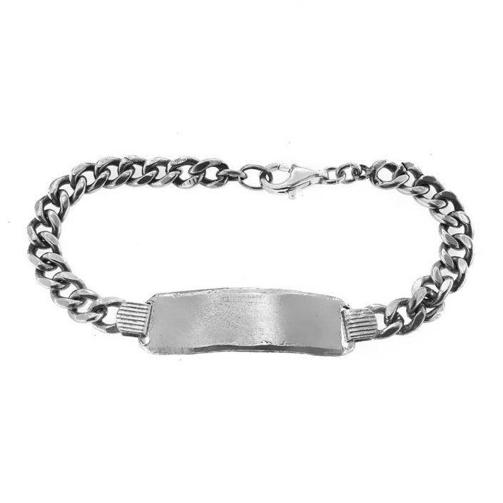 Bracciale vintage in argento con targa personalizzabile (bcc01)