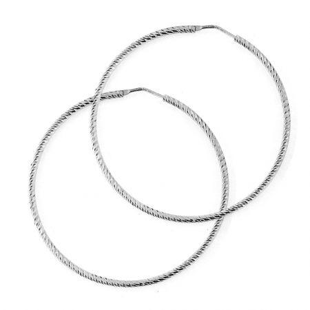 Orecchini a cerchio in argento rodiato - effetto zigrinato - 2 mm