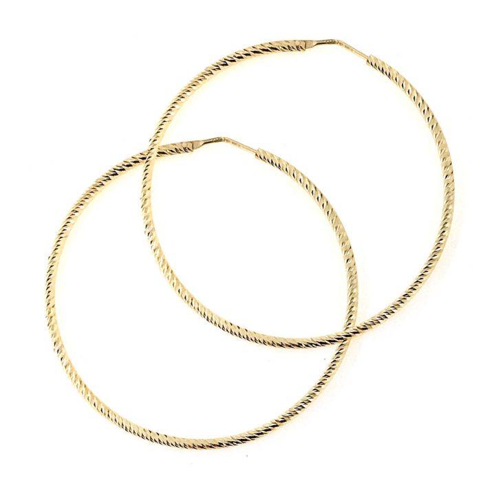 Orecchini a cerchio in argento placcato oro giallo - effetto zigrinato - 2 mm
