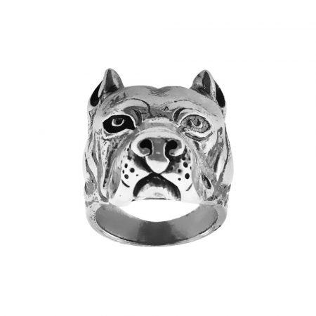 Anello in argento a forma di testa di cane pitbull