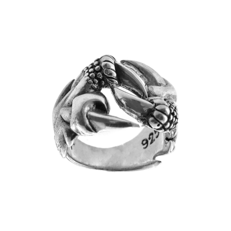 Anello in argento a forma di artigli di drago