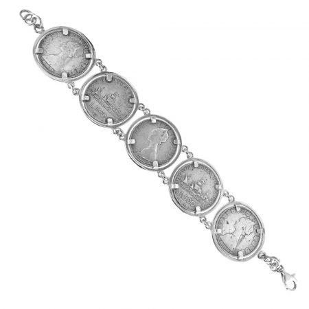 Bracciale in argento con monete da 500 lire