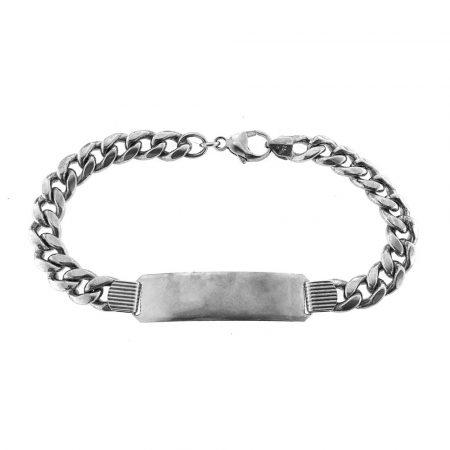 Bracciale vintage in argento con targa personalizzabile (bcc02)