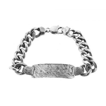 Bracciale vintage in argento con targa personalizzabile (bcc03)