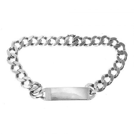 48a9c1f350473f Bracciale vintage in argento con targa personalizzabile (bcc04)