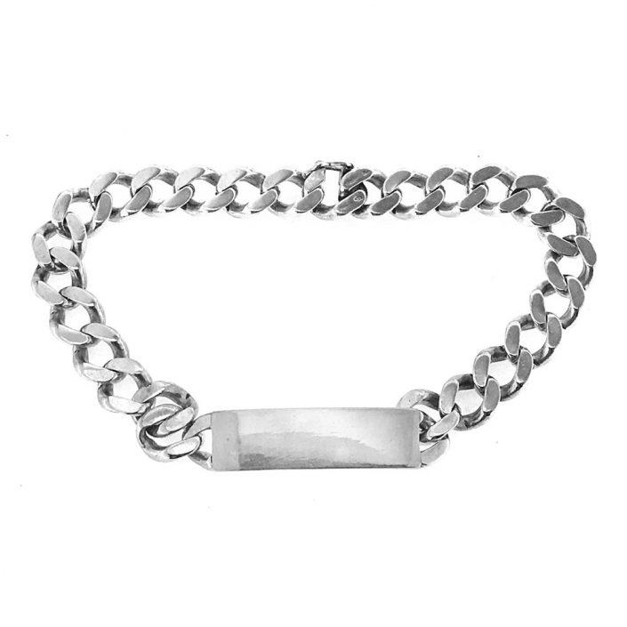 Bracciale vintage in argento con targa personalizzabile (bcc04)