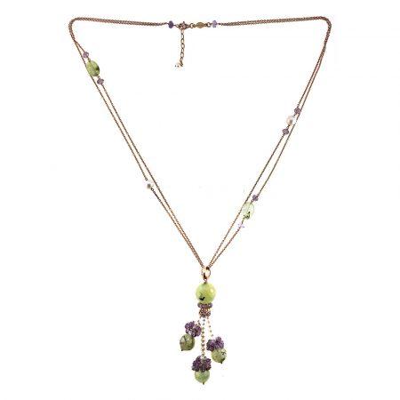 Collana lunga in argento rosé, peridoto, ametista e perle