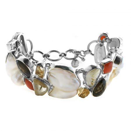 Bracciale in argento con pietre