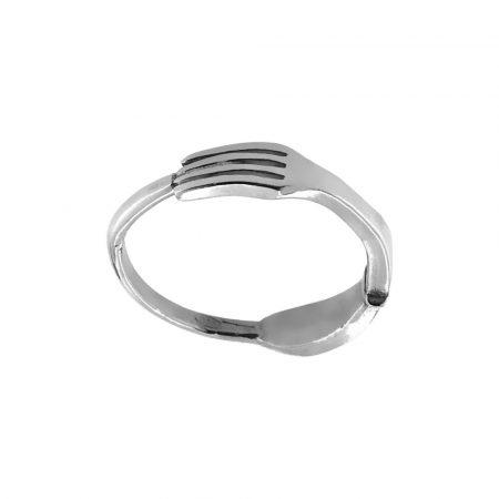 Anello in argento con forchetta
