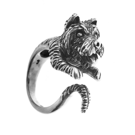 Anello a forma di cane hug ring West Highland in argento