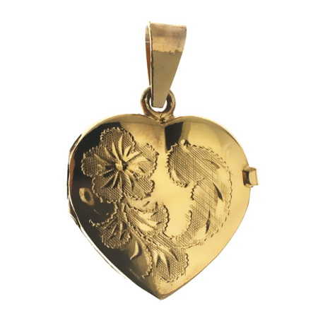 Ciondolo portafoto a forma di cuore apribile in argento dorato
