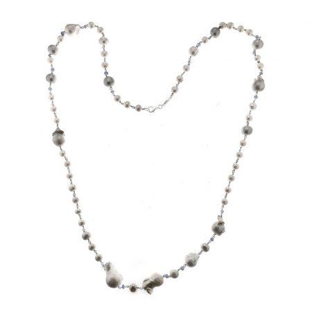 Collana con perle e zaffiri in argento