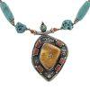 Collana etnica double-face in argento, turchese, ambra e corallo