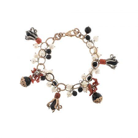Bracciale con corallo, onice e perle di fiume in argento