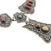 Collana etnica double-face in argento, turchese e corallo con ciondolo