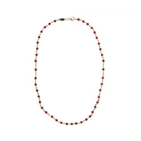 Collana modello rosario in corallo bambù e argento