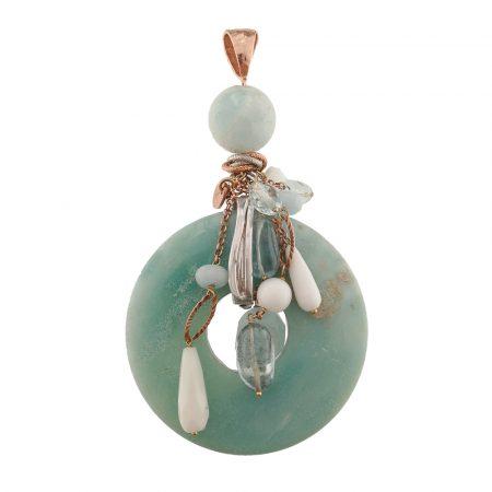 Ciondolo con pietra a disco, agata bianca, acquamarina ed argento