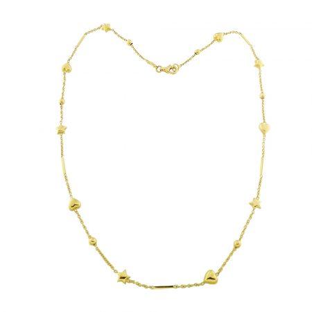 Collana con cuori e stelle in oro
