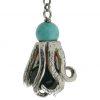 Orecchini con polpo in argento, turchese, corallo ed onice