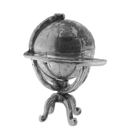 Mappamondo girevole in argento