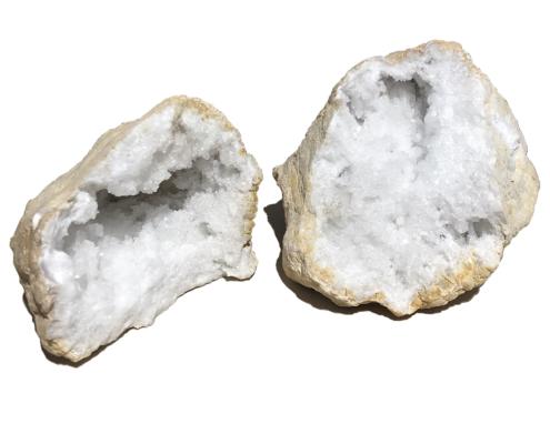 Coppia di geodi di quarzo ialino o cristallo di rocca 4465 gr cristalloterapia
