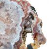 Fetta di calcedonio rosa con supporto in ferro