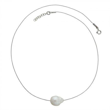 Collierino in argento con perla centrale bianca o grigia