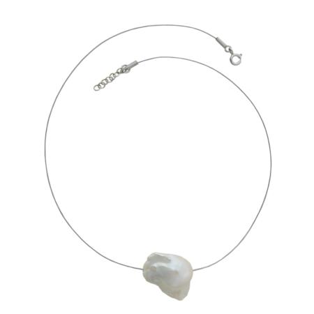 Collierino in argento con perla centrale barocca